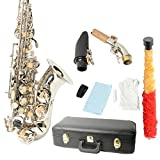 MCH Professional bB SAX Saxophone Brass Carving Pattern Pearl White Shell Button, ,Alto Saxophone Silver
