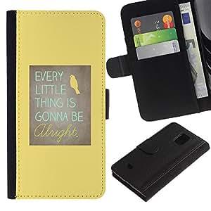 Planetar® Modelo colorido cuero carpeta tirón caso cubierta piel Holster Funda protección Para Samsung Galaxy S5 Mini / SM-G800 (Not For S5!!!) ( Motivational Positive Yellow Bird )