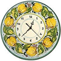 CERAMICHE D'ARTE PARRINI - Italian Ceramic Wall Clock Decorated Lemons Sunflower Hand Painted Made in ITALY Tuscan Art Pottery