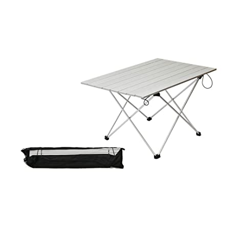 ASDOMO Portable Camping Tables With Aluminum Table Top, Hard Topped Folding  Table In A