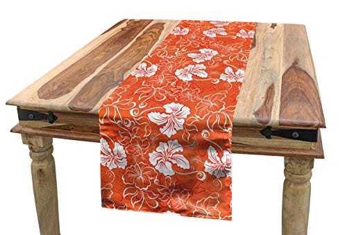 Ambesonne Orange Table Runner, Hawaiian Pattern with Tropical Climate Hibiscus Flowers Abstract Summer Flourish, Dining Room Kitchen Rectangular Runner, 16 W X 120 L Inches, Orange -