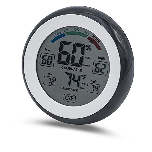 Zone - 365 Hygrometer with Digital Thermometer Humidity and Temperature Monitoring. Active Color LCD Touch Screen Switching Between C & (Commercial Cigar Humidors)