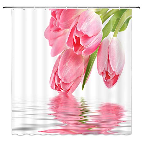 AMNYSF Pink Tulip Shower Curtain Spring Flower Green Leaves Plants Floral Scenery Decor White Fabric Bathroom Curtains,70x70 Inch Waterproof Polyester with Hooks