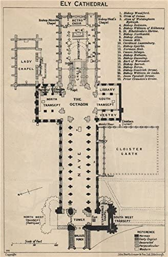 Amazon Com Ely Cathedral Floor Plan Cambridgeshire 1939 Old Map Antique Map Vintage Map Printed Maps Of Cambridgeshire Posters Prints