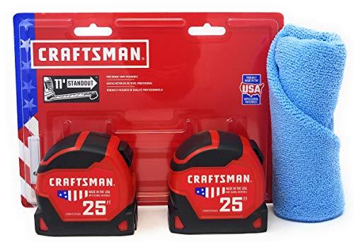 (Craftsman 25 Foot Tape Measure (2 Pack) and Tesadorz Microfiber Towel)