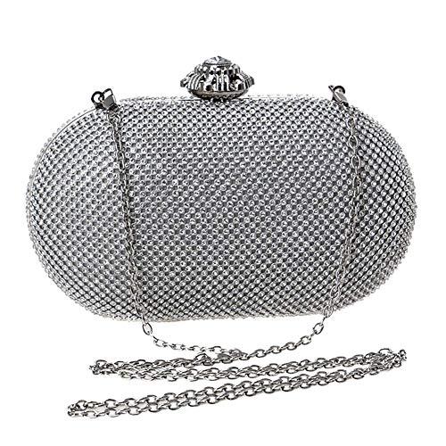 cristallo su frizione strass da crossbody della borse Sky borsa grow della argento metallo catena borsa sera nuziale spalla Morbida donna di festa PqXPYx7wg