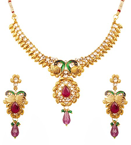 Touchstone Indian Bollywood Peacock meenakari White Purple Jewelry Necklace in Antique Gold Tone for Women