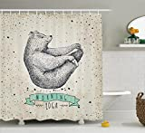 Yoga Decor Shower Curtain Set by Ambesonne, Contemporary Illustration of Meditating Bear on Vintage Background Calm LifeTheme, Bathroom Accessories, 84 Inches Extralong, Dust Mint and Green