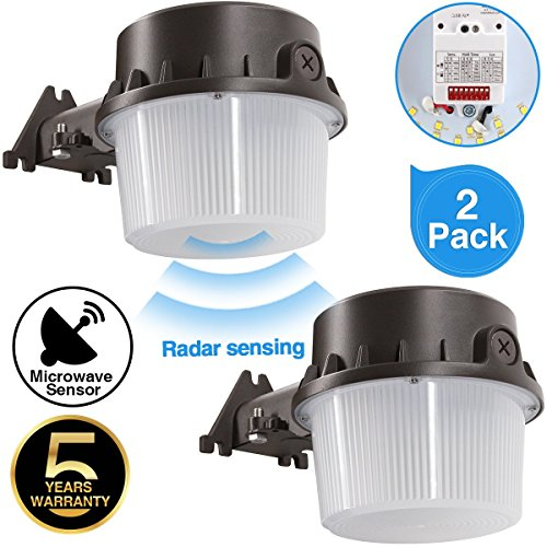 Radar Sense, LED Yard Light for Area Lighting LED Outdoor Barn Light, (250-350W Equivalent), 5000K Daylight, 4200lm Floodlight, Wet Location, Radar Sensor Included, 50K 2Pack