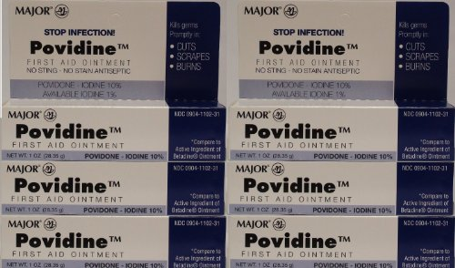 Topical Antiseptic Ointment - Povidone Iodine 10 % Generic for Betadine Ointment 1 oz. Tube Pack of 6 Tubes Total 6 oz.
