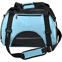 Yoption Portable Pet Carrier Outdoor Bag, Airline Approved Tetrahedral Mesh Ventilative Travel Tote Soft-Side Bag for Pets Cat and Small Dog (S, Blue )