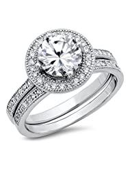 Sterling Silver Cubic Zirconia Halo 3.3 Carat tw Round Brilliant Cut CZ Wedding Engagement Ring Set