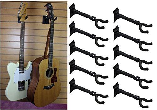 BlueDot Trading ten-long-guitar Adjustable Guitar and String Instrument Hanger Mount, Pack of 10