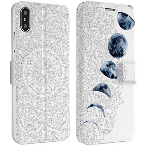 Wonder Wild Moon Eclipse IPhone Wallet Case X/Xs Xs Max Xr 7/8 Plus 6/6s Plus Card Holder Accessories Smart Flip Clear Design Protection Cover Boho Mandala Indian Ornament Space Object Astronomer