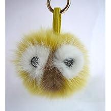 AURORA168 Baby bird Yellow Mink Fox Fur Monster Bugs Pom Pom Doll Ball Key Ring/ Keychain /Bag Charm by AURORA168