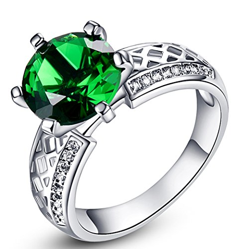 PAKULA Silver Plated Women Simulated Emerald Quartz Solitaire Cocktail Ring