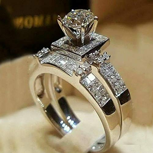Endicot 2Pcs/Set White Sapphire 925 Silver Wedding Engagement Ring Jewelry Gift Sz 5-11 | Model RNG - 5195 | 9