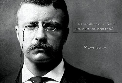 Theodore Roosevelt Photo Picture Poster Framed Quote Let us Rather Run The Risk of Wearing Out US President Portrait Famous Inspirational Motivational Quotes (13x19 Unframed Poster)