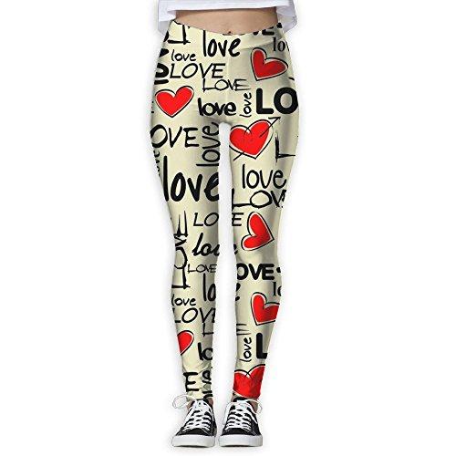Love Art With Heart Geek Tummy Control Yoga Pants For Women Pencil Yoga Leggings Dancing Trousers Large