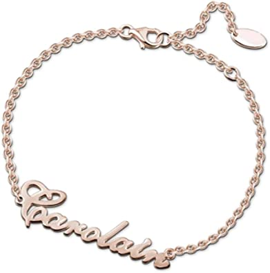 Name Bracelet Personalized Sterling Silver Gold Rose Gold Custom Made Any Name Charm Initial Link Women Girl Jewelry Gift