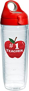 Tervis #1 Teacher - Apple Tumbler with Emblem and Red with Gray Lid 24oz Water Bottle, Clear
