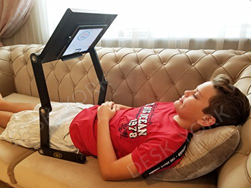 Tablet - iPad Holder - Computer Stand-Great GIFT For Father's Day - Laptop Tables with Fan - Office Credenzas-in Bed, Sofa Recliner Tray By Desk York – Adjustable Folding Design w/Built in Cooling Fan