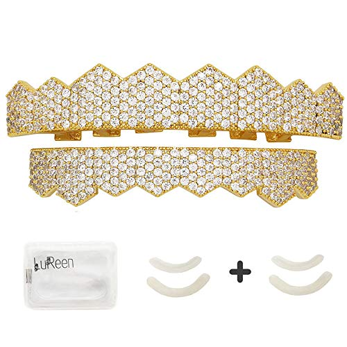 LuReen 14k Gold Silver Plated Pave Full Iced Out CZ 8 Teeth Grillz Set + 2 Extra Molding Bars (Gold Set)