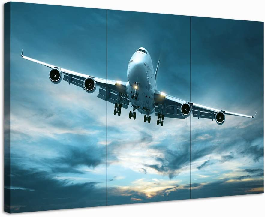 Nachic Wall 3 Piece Canvas Painting Flying Aircraft Picture Poster Prints Vintage Airplane Wall Art Decor for Home Office Living Room Man Bedroom Gallery Canvas Wrapped Ready to Hang
