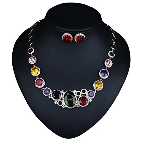 Fashion 3A CZ Costume Jewelry Collar Statement Necklace Stud Earrings Set for Women & Girls