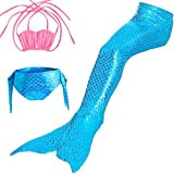 Jiistar Little Girls 3 Pcs Mermaid Tail for Swimming Mermaid Swimsuit Bathing Suits Bikini Set 3-12 Years