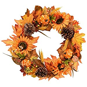 Dolicer Artificial Maple Leaf Wreath with Sunflowers Pumpkins Pine Cone and Wheat Wreath for Halloween and Thanksgiving Home Indoor or Outdoor Arrangement Decoration
