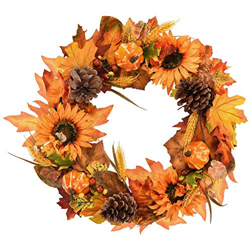 Dolicer Artificial Maple Leaf Wreath with Sunflowers Pumpkins Pine Cone and Wheat Wreath for Halloween and Thanksgiving Home Indoor or Outdoor Arrangement Decoration -