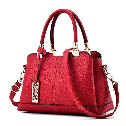 Mujer Pu Bag Shopper Superior Bolso Exull Mano Red Para Tote Compras Hombro Bandolera Trabajo Elegante Estudiante La 1354 Asa Cuero De 0wtqP