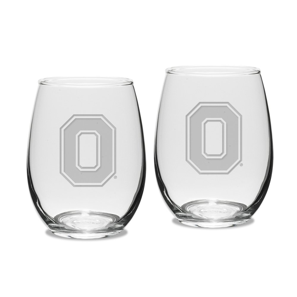 NCAA Ohio State Buckeyes Adult Set of 2-15 oz Stemless Wine Glass Deep Etched Engraved, One Size, Clear