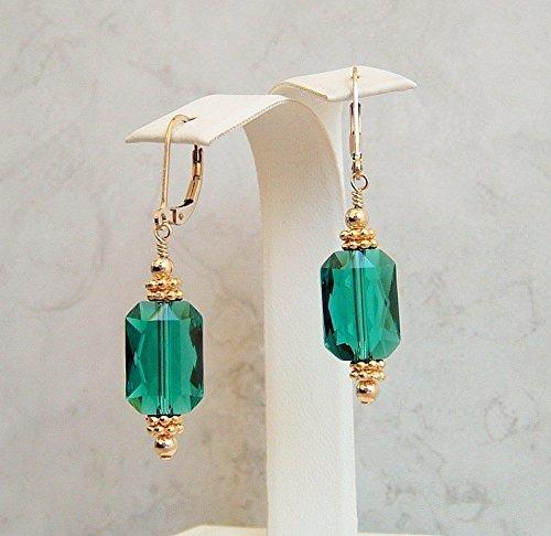 Dark Green Rectangle Swarovski Elements Crystal 14K Gold Filled Leverback Earrings -