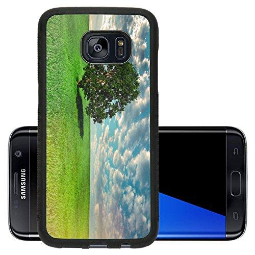 Liili Premium Samsung Galaxy S7 Edge Aluminum Backplate Bumper Snap Case ID: 22082690 summer landscape with tree vintage paper - Lawn Target Oak