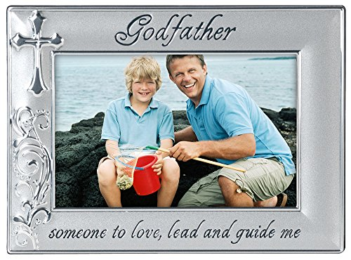 (Malden International Designs Godfather with Cross Picture Frame, 4x6, Silver )