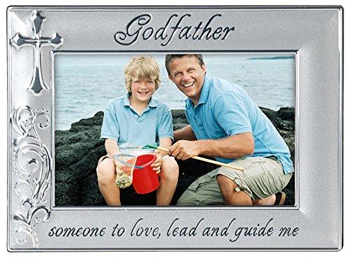 Malden International Designs Godfather with Cross Picture Frame, 4x6, Silver by Malden International Designs (Image #1)