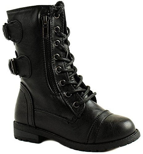 (Forever Link Girls Mango 61K Lace Up Boots | Combat Boots for Girls | Zipper Boots | Toddler Girl Shoes | Little Girl Shoes Black 9 M US)