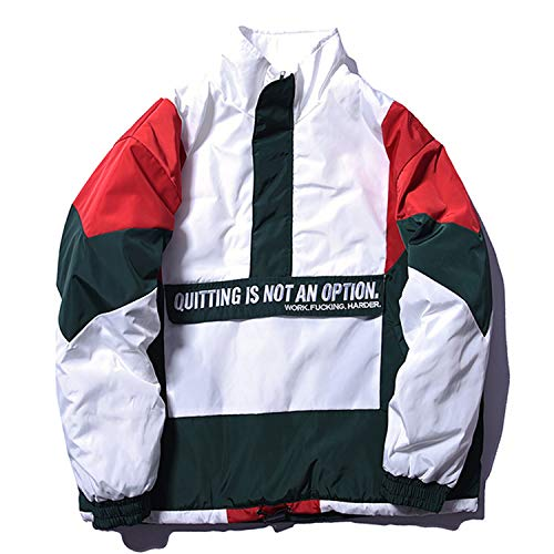 Youthern Patchwork Pullover Jackets Mens Embroidery Windbreaker Jacket Streetwear FC01,Red,L ()