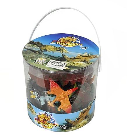 Giant Bucket of Dinosaur Action Figures Playset - 32 Dinosaurs and Accessories by Hingfat - Ankylosaurus Dinosaur Toy