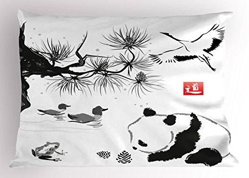 "Ambesonne Asian Pillow Sham, Bird Cedar Panda Bear Traditional Japanese Painting Style Art Hieroglyph Way, Decorative Standard Size Printed Pillowcase, 26"" X 20"", Black Coral"