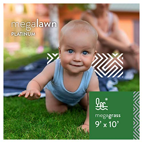 MEGAGRASS MegaLawn Platinum 9 x 10 Ft Artificial Grass for Pet Lawn and Landscaping Outdoor or Indoor Green Faux Fake Grass Decor Mat Rug Carpet Turf 90 SqFt 1.88 Tall Blades 92 oz Face Weight