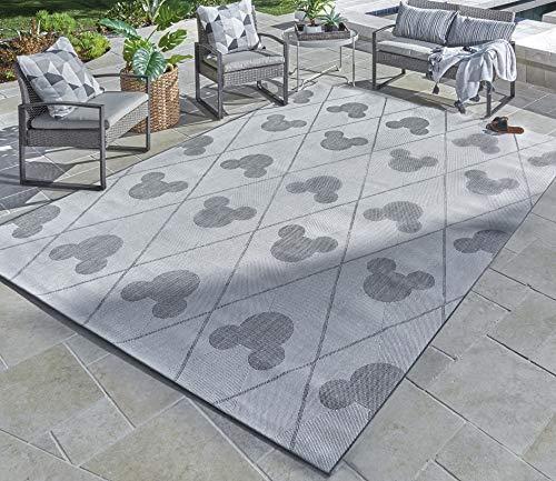 Garden and Outdoor Gertmenian 31291 Disney Outdoor Rug Patio Mickey Mouse Outside Carpet 5×7 Standard, Diamond Tile Beige Gray outdoor rugs