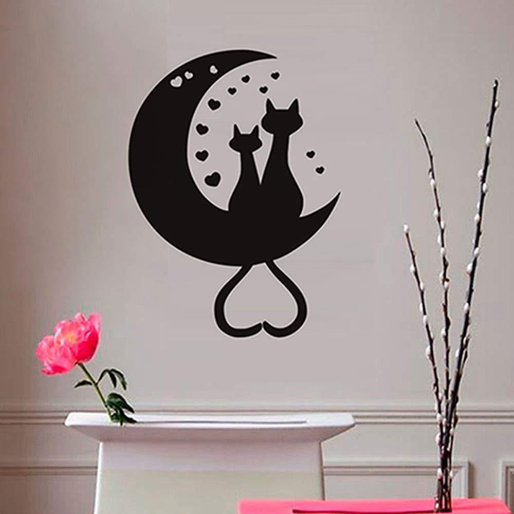 Gato modelado sentado en la luna corazón arte de la pared ...