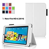Case for Fire HD 6 - Elsse Premium Folio Case with Stand for Fire HD 6 (Oct, 2014 Release) - White