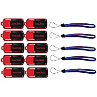 SanDisk Cruzer Switch 16 GB (10 Pack) USB Flash Drive SDCZ52-016G-B35-10PK w/ (5) Everything But Stromboli (TM) Lanyard