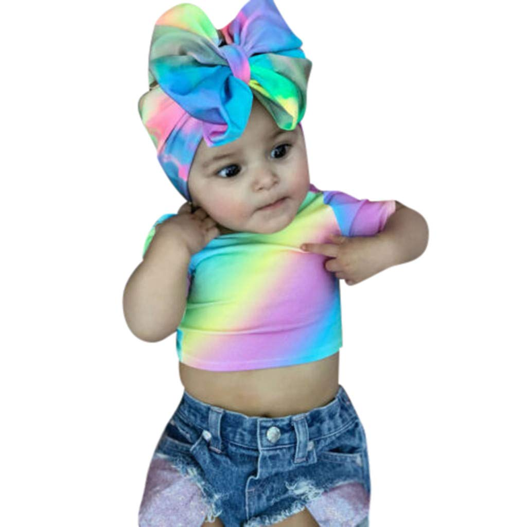 NUWFOR Toddler Kids Baby Girls Rainbow Print Tops Short Jeans Hair Band Outfits Set(Multicolor,18-24 Months)