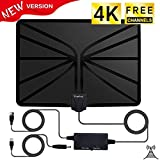 [New Version ] TV Antenna, Amplified Digital HDTV Antenna with Powerful HDTV Amplifier Signal Booster, Up to 80 Miles Range for Indoor Use,Get More Free Channels