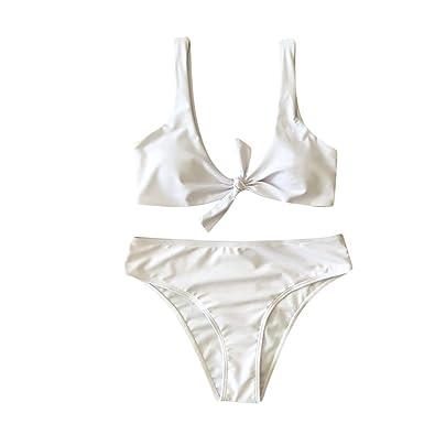 575ff044621e7 KPILP Femme Maillot de Bain Sexy Bikini Bow Solide Maillot de Bain 2019  Nouvelle Inscription Maillots